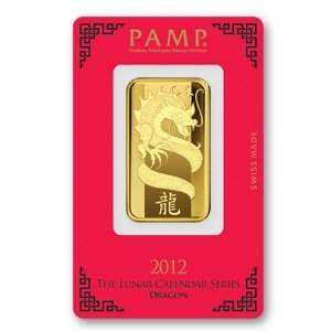 Gold Bars: Pamp Suisse One Ounce Gold Bar 2012 (Dragon