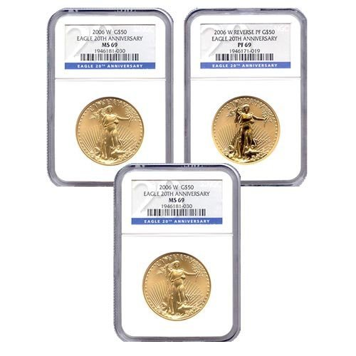 Certified 2006 20th Anniversary 3pc Gold Set MS & PF69
