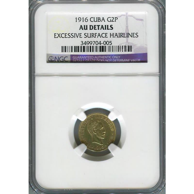Cuba 2 pesos gold 1916, AU