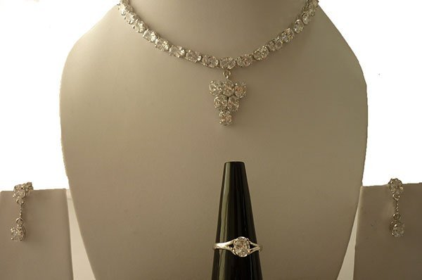 103.65 ctw CZ (Oval) Necklace .925 Sterling Silver