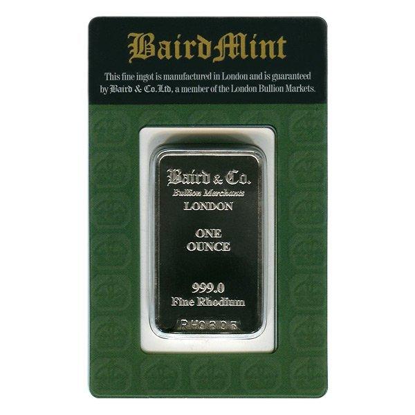 Rhodium Bars: Baird Mint One Ounce Rhodium Bar