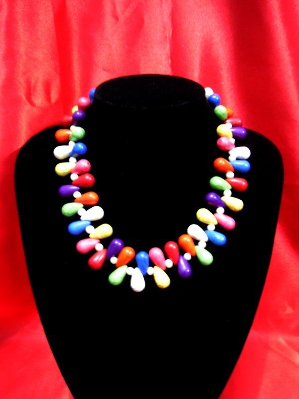 600 CTW 16 INCH MULTICOLOR TURQUISE NECKLACE