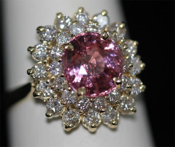 14K GOLD ROUND PINK TANZANIAN AND DIAMOND RING