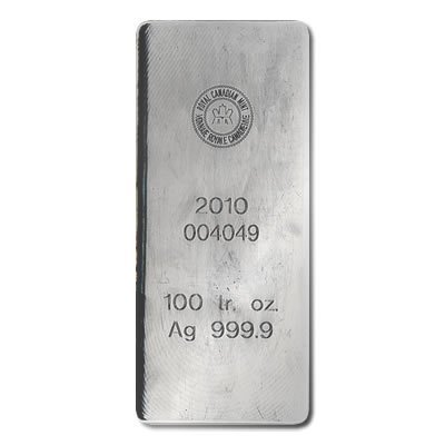 Silver Bars: Royal Canadian Mint 100 oz .9999 fine