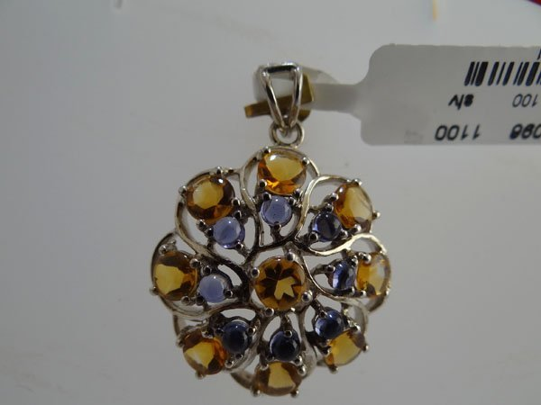 30.50 CTW CITRINE AND LOLITE PENDANT .925 STERLING SILV