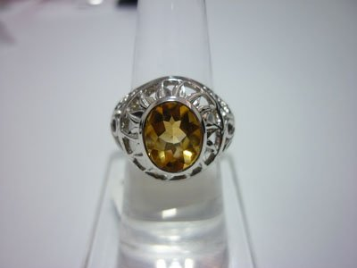 NATURAL 34.25 CTW CITRINE RING .925 STERLING SILVER