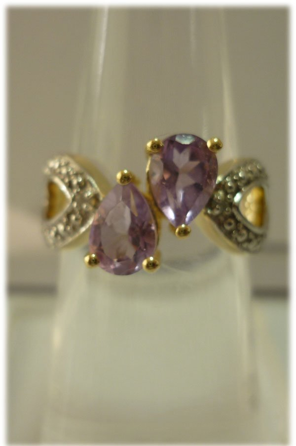 21.45 ctw 14K Gold Plated silver amethyst Ring
