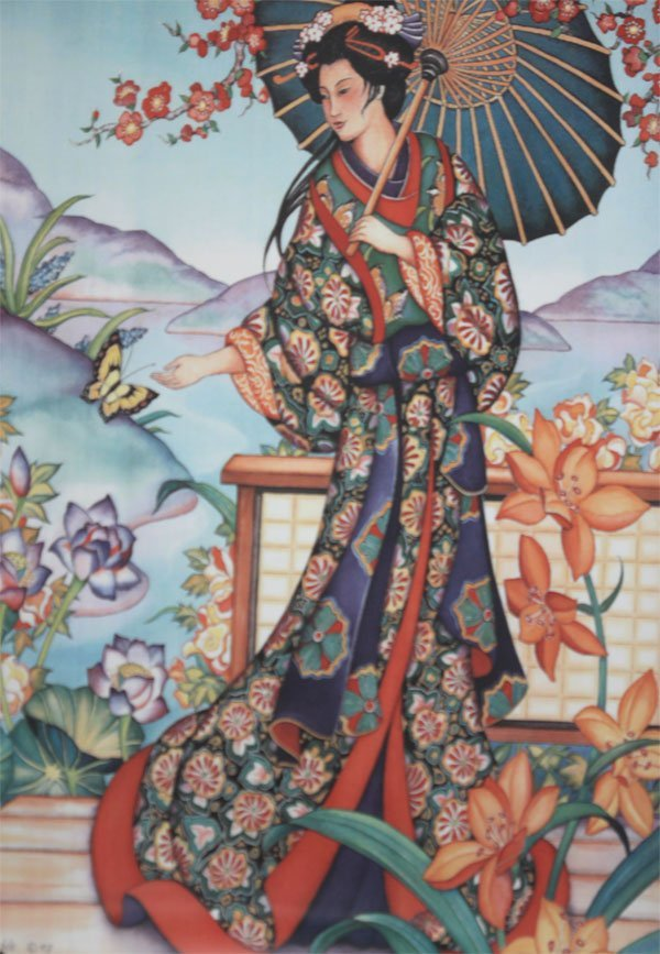Traditional japanese woman carring parasol