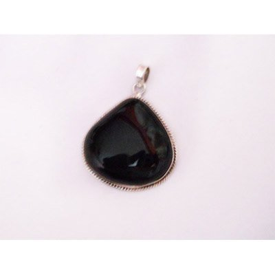 Natural 68.85 ctw Black Onex Pendant .925 Sterling