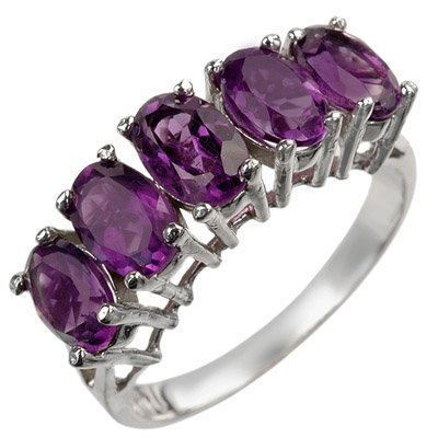 Genuine 2.30 ctw Amethyst Ring 10K White Gold