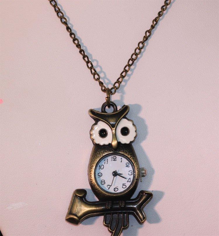 BRASS OWL WATCH NECKLACE