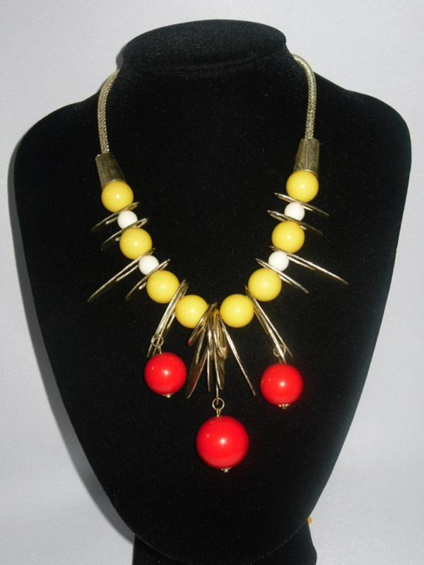 454CTW YELLOW RED GUMBALLS BRASS NECKLACE;18INCH