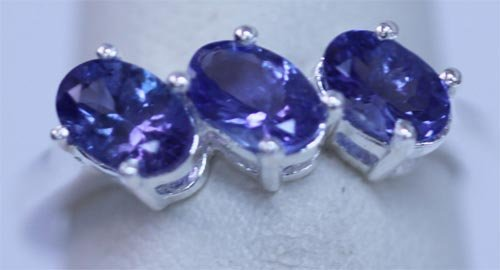 12.25 CTW TANZANITE RING .925 STERLING SILVER