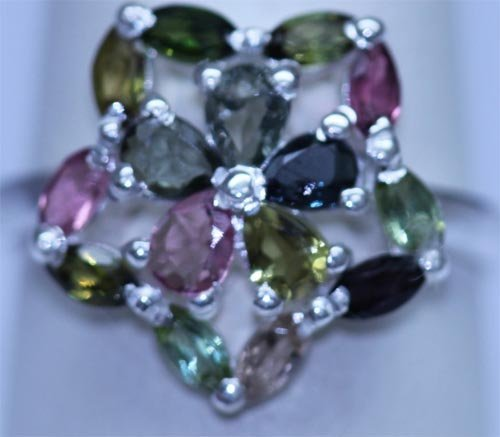 14.75 CTW SEMIPRECIOUS RING .925 STERLING SILVER