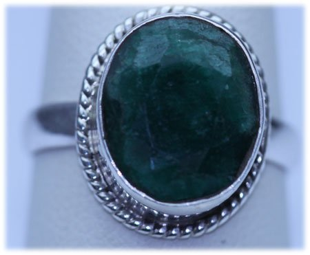 24.80 CTW EMERALD RING .925 STERLING SILVER