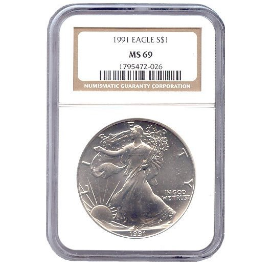 Certified Uncirculated Silver Eagle 1991 MS69