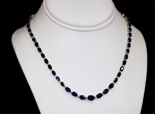 APROX. 24K; SAPPHIRE AND DIAMOND 14K GOLD NECKLACE