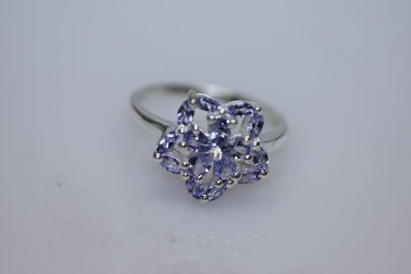 13.70 CTW TANZANITE RING .925 STERLING SILVER
