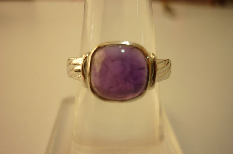 20.90 ctw Amethyst cabushion Ring .925 Sterling Silver
