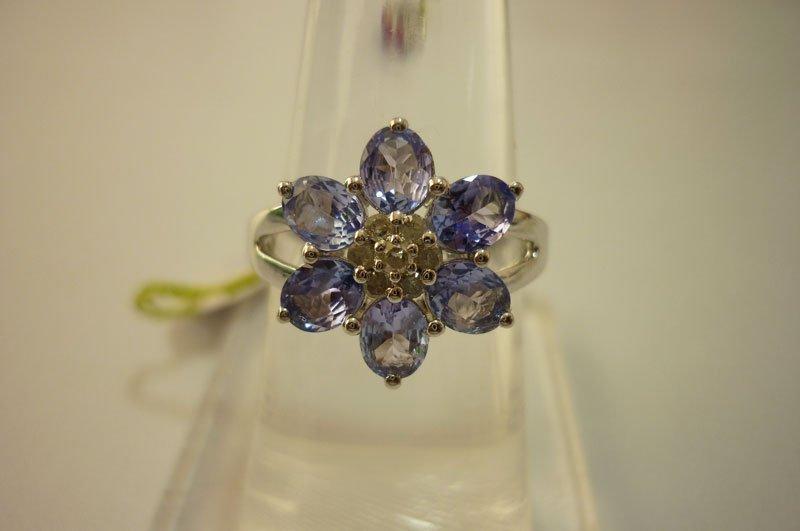 19.50 ctw Tanzanite DIAMOND Ring .925 Sterling Silver