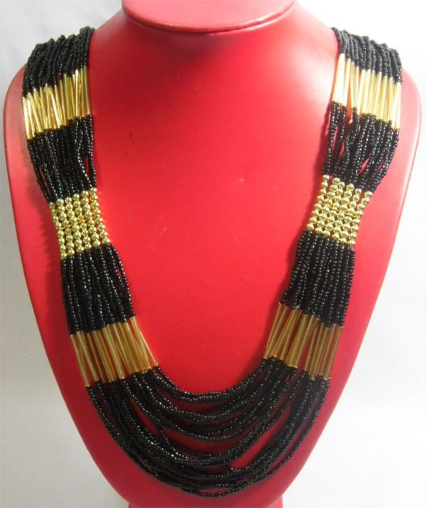 CURTAIN BEADED BLACK GOLD NECKLACE 20INCH