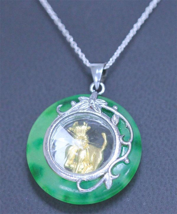 GREEN JADE PENDANT YEAR OF THE OX NECKLACE