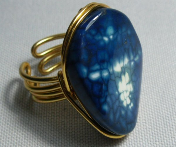 24.00CTW BLUE AGATE ALUMINUM WIRED ADJUSTABLE RING