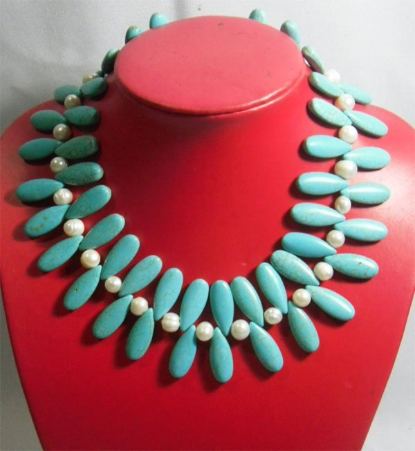 555.00CTW PHILIPPINE FRESHWATER PEARL AND BLUE TURQUOIS