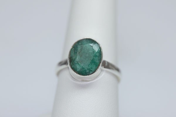 19.03 CTW EMERALD RING .925 STERLING SILVER