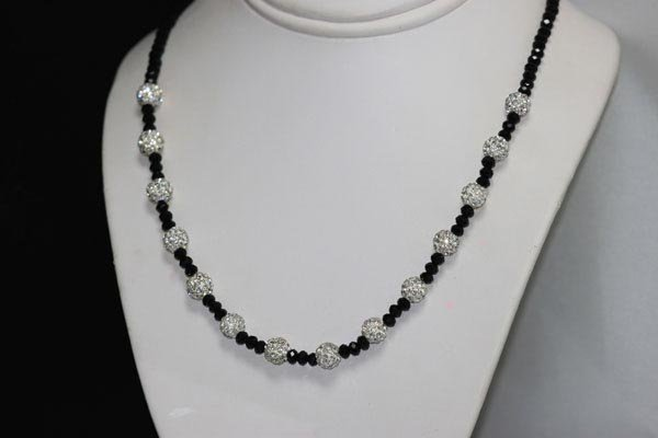 BLACK ONEX AND CZ NECKLACE, EARRING AND BRACELET SET