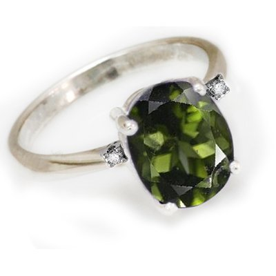 Natural 3 ctw Green Tourmaline 14k W/G .05ct Diamond