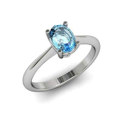 Genuine 0.40 ctw Aqua Marine Ring 14k W/Y Gold