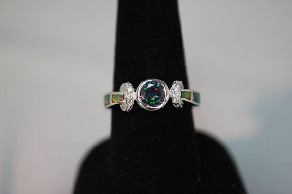 23.00 CTW ANTIQUE LOOKING CZ AND OPAL PEARL RING .925 S