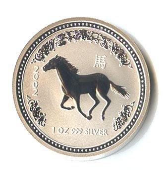 Australian Lunar Silver 1 oz Silver 2002 Horse