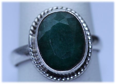 24.10 CTW EMERALD RING .925 STERLING SILVER