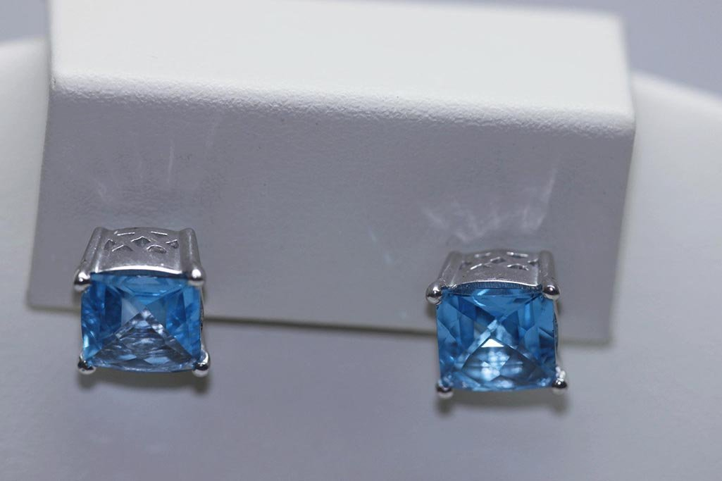 22.35 CTW BLUE TOPAZ EARINGS .925 STERLING SILVER