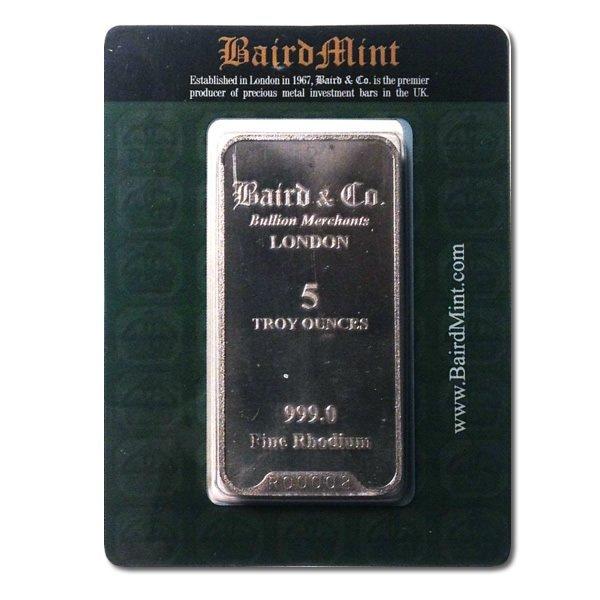 Rhodium Bars: Baird Mint 5 Ounce Rhodium Bar