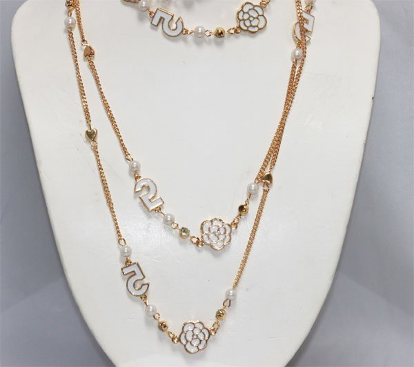 CHANEL STYLE GOLD PLATED WHITE LONG NECKLACE