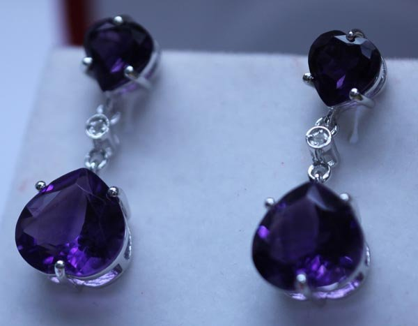 32.80 CTW AMETHYST AND DIAMOND EARRINGS .925 STERLING S