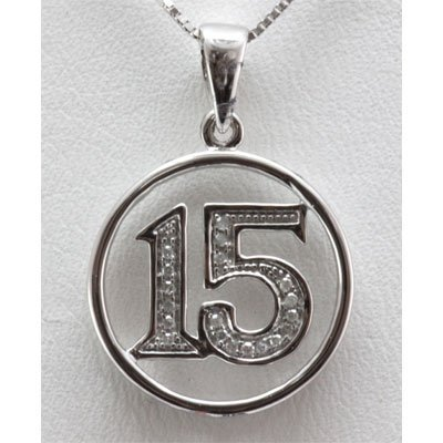 Genuine 0.07 ctw Diamond #15 Pendant inside Circle 14k