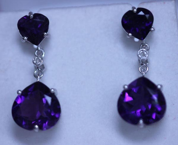 31.55 CTW AMETHYST AND DIAMOND EARRINGS .925 STERLING S