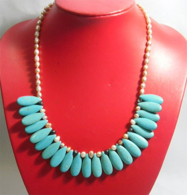 290.00CTW PHILIPPINE FRESHWATER PEARL AND BLUE TURQUOIS