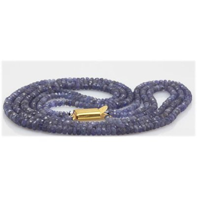 Natural 143.03ctw Tanzanite Graduated 3 Rows Necklace