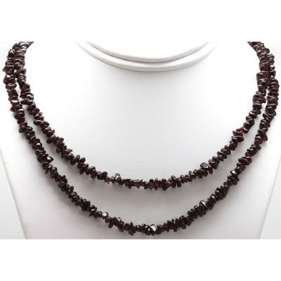 """Natural Garnet 34"""" inches Single Row Necklace no clasp"""