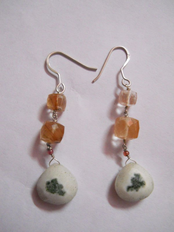 NATURAL 29.05 CTW SEMIPRECIOUS EARRING .925 STERLING SI