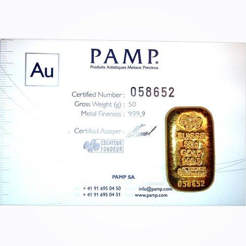 Gold Bars: 50g Gold Bar (1.6075 ounces) Manufacturer Of