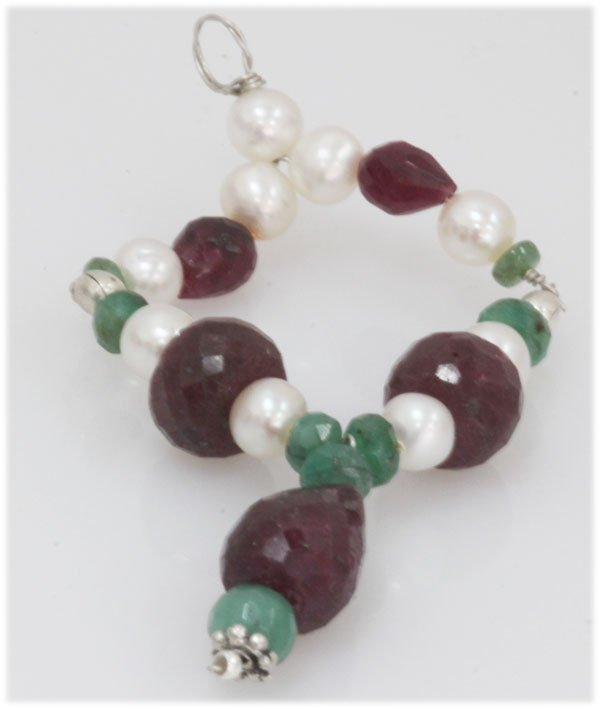 NATURAL 41.80 CTW RUBY EMERALD AND PEARL PENDANT .925 S