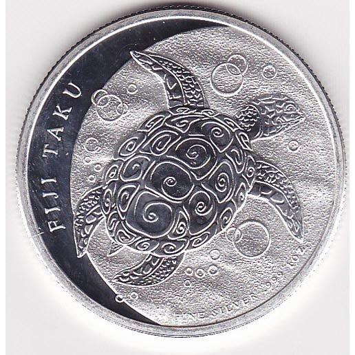 Fiji $2 Taku (Hawksbill Turtle) 1 oz. Silver 2012