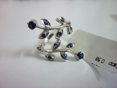NATURAL 15.25 CTW SAPPHIRE RING .925 STERLING SILVER