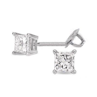 1.00 ctw Princess cut Diamond Stud Earrings G-H, SI2